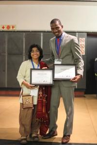 Individual winner Sunitha Krishnan with youth winner Jerome Cowans.