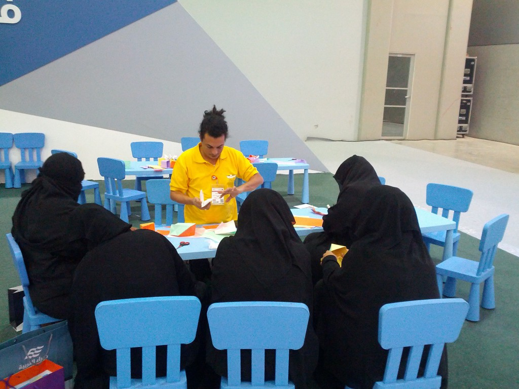 Ossama Helmy at an origami workshop in Saudi Arabia in 2012.