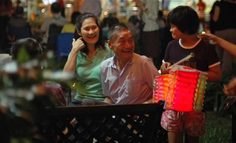 Hospice resident Mr Tan at the Mid Autumn Festival. Palliative care is one of the Lien Foundation's three focus areas.