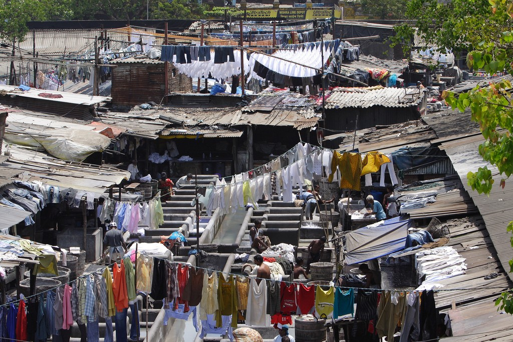 Every day, hundreds of washermen work in the open laundry in Mumbai, India.