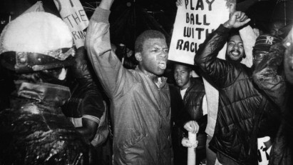 Unidentified demonstrators on 22 September 1981, protesting against the national rugby team the Springboks, because of South Africa's policy of apartheid.