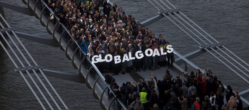 In 2015, citizens gathered on London's Millennium Bridge and other famous landmarks around the world to call on world leaders to adopt the SDGs.