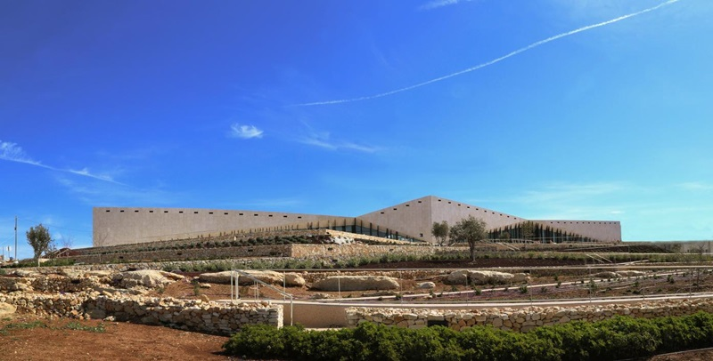 The landmark Palestinian Museum near Ramallah opens in May 2016. Credit: Photo by Khaled Fanni. Copyright The Palestinian Museum.