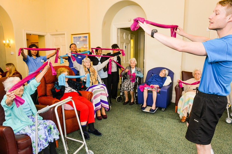 Oomph! run exercise classes in care homes and the community to improve older people's health and well-being.