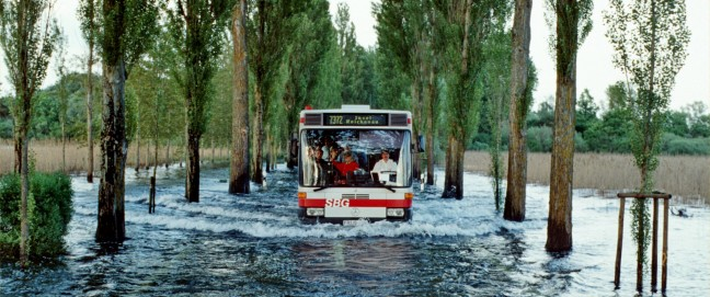 Caption: Flooded road on the island of Reichenau in Lake Constance, Germany, during the flooding of June 1999.