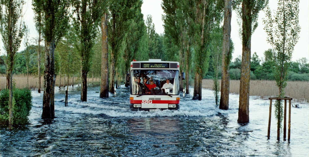 Flooded road on the island of Reichenau in Lake Constance, Germany, during the flooding of June 1999.