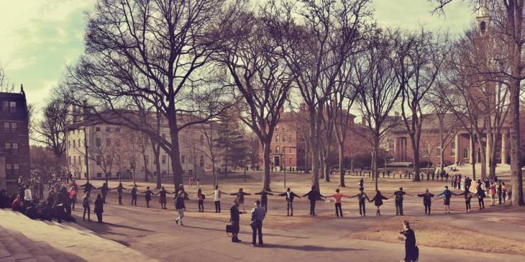 Divest Harvard encircles Harvard Yard during Harvard Heat Week in April 2015.