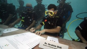 Maldivian Underwater Cabinet Meeting prior to the COP 15, 2009.