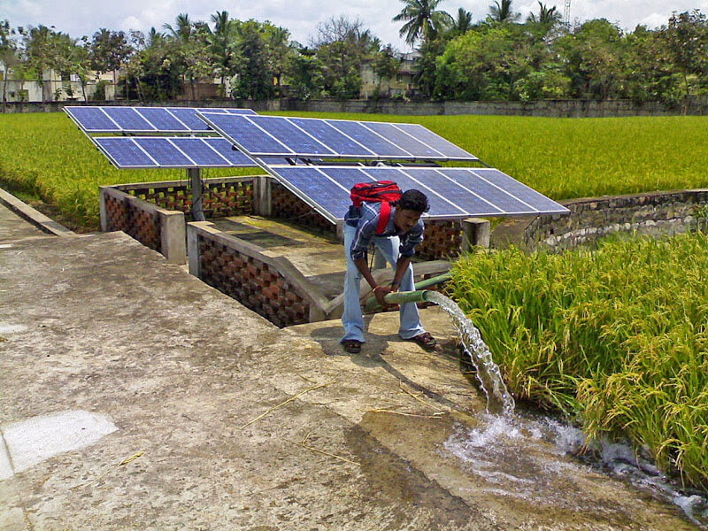 Renewable-energy mini-grid in rural India.
