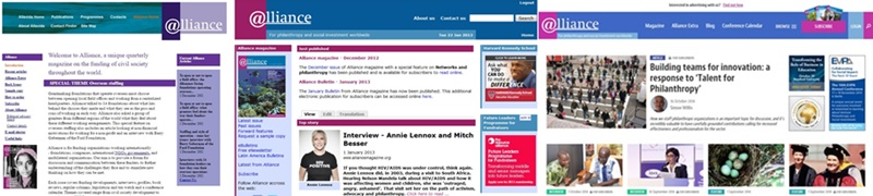 www.alliancemagazine.org from 2003 to today