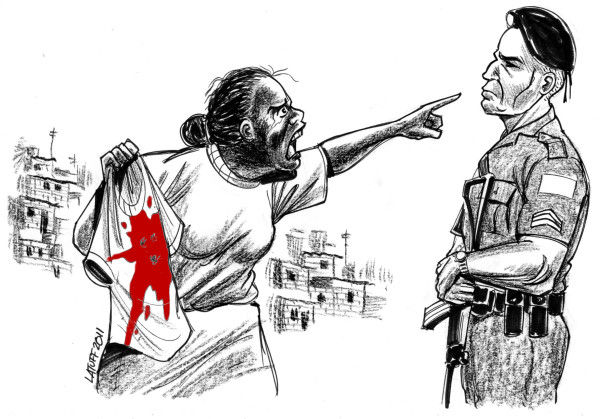 Two cartoons drawn for the Mothers of May by the Brazilian cartoonist Carlos Latuff.