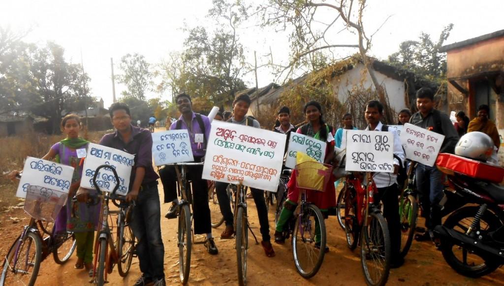 Sambalpur, Odisha, a cycle rally on gender issues (partner organization: Patang). Credit: NFI Partners