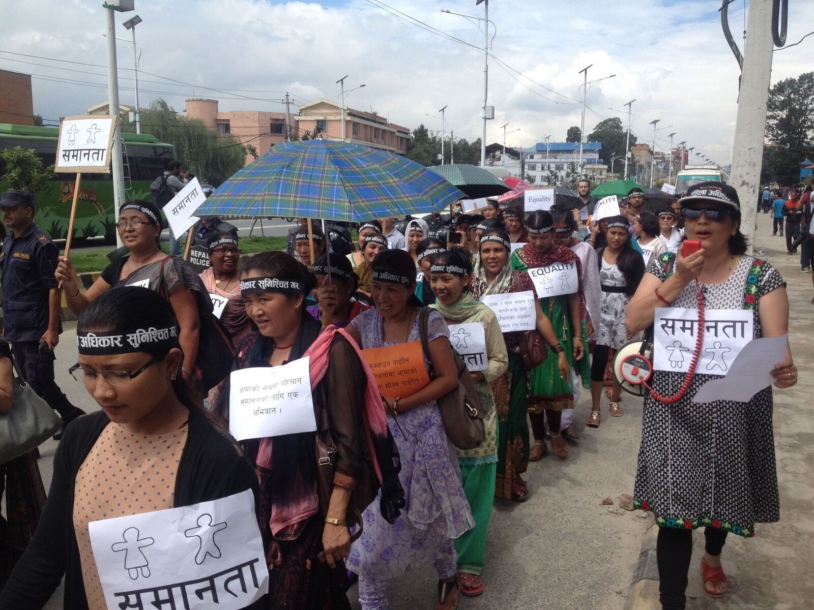 Marchers for gender equality in a campaign launched by Tewa as the Nepalese constitution was being debated