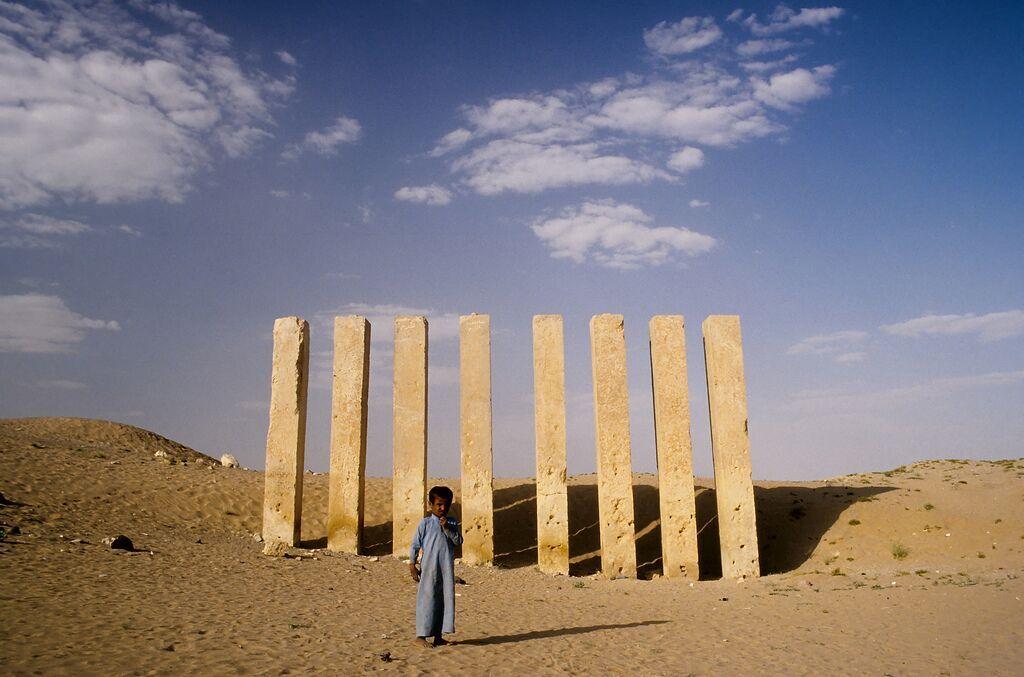 The eight pillars of the Haram Bilqis temple, Yemen