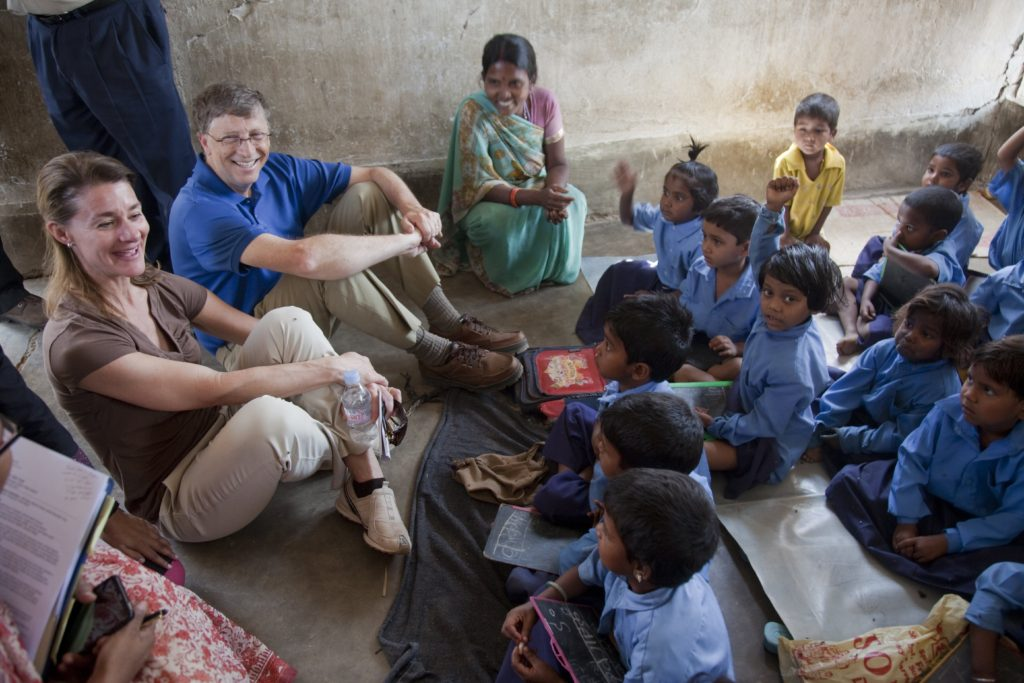 Bill and Melinda Gates with children at an Anganwadi centre in Bihar, India. Copyright: Gates Archive Credit: Prashant Panjiar