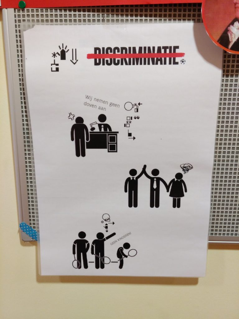 A picture from their bulletin board teaching anti-discrimination. Photo credit: Yvonne Moore