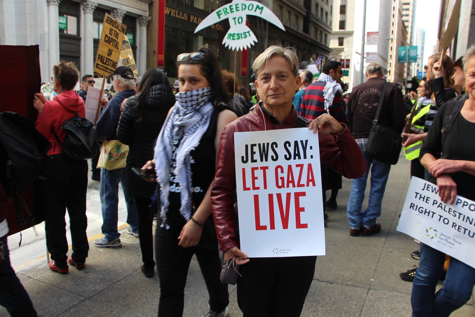 Scholar, author and member of JVP's academic council, Judith Butler, protests the killing of Palestinians in Gaza. Photo credit: jewishvoiceforpeace.org