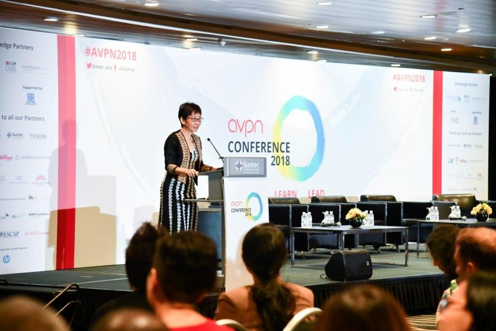 Singapore minister of culture, Grace Fu, during her keynote speech at the AVPN conference.