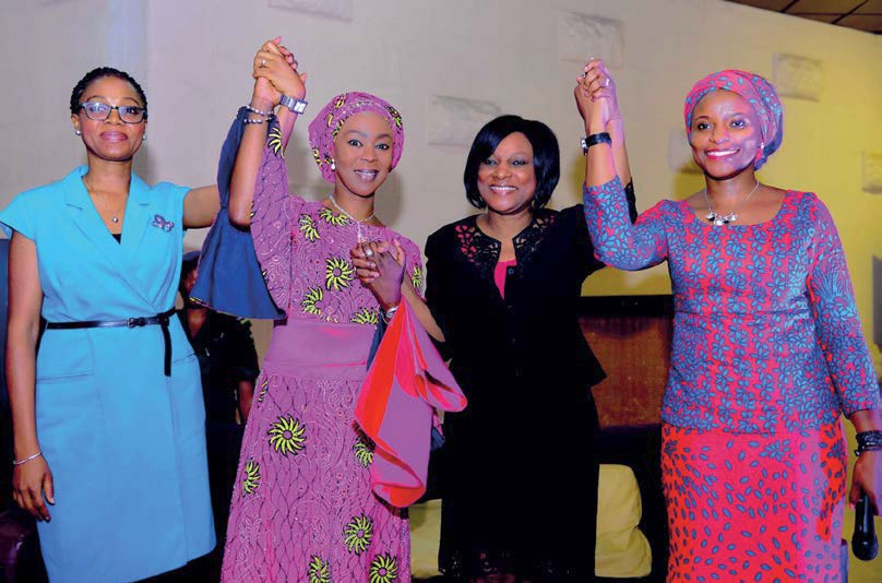 On International Women's Day 2016, the Wellbeing Foundation Africa, led by former Nigerian first lady Toyin Saraki (second on the left), called for gender equality, especially in education and employment.