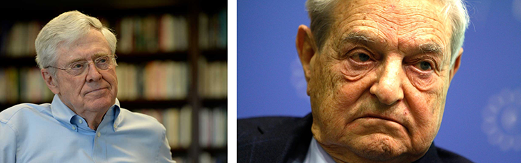 Plutocrats at work. Are Charles Koch and George Soros two sides of the same coin?