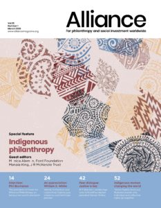 Cover of Alliance magazine's March 202o issue on Indigenous philanthropy