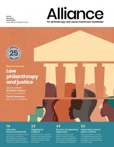 Cover for Alliance magazine's March 2021 issue on law and philanthropy.