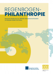 Report cover for 'German funding for LGBTIQA+ human rights work in the Global South and East'