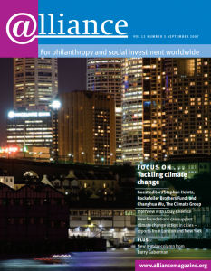 Cover image of Alliance magazine's September 2007 issue titled 'Tackling climate change'.